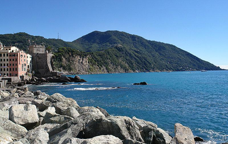 View of the sea and the mountains in Camogli