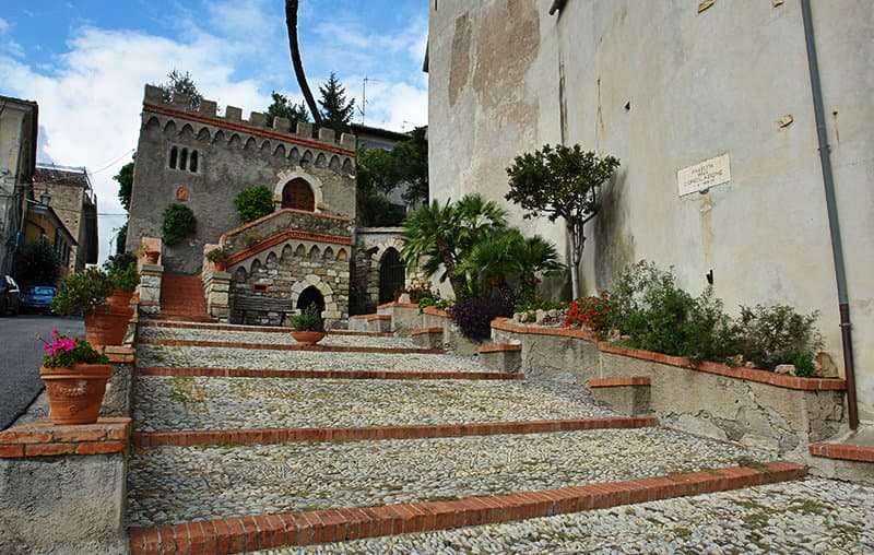 Stairs to go to a church in Diano Castello
