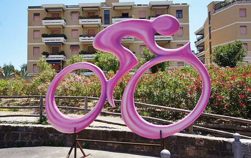 The symbol of Giro d'Italia, a pink cyclist, in San Lorenzo al Mare