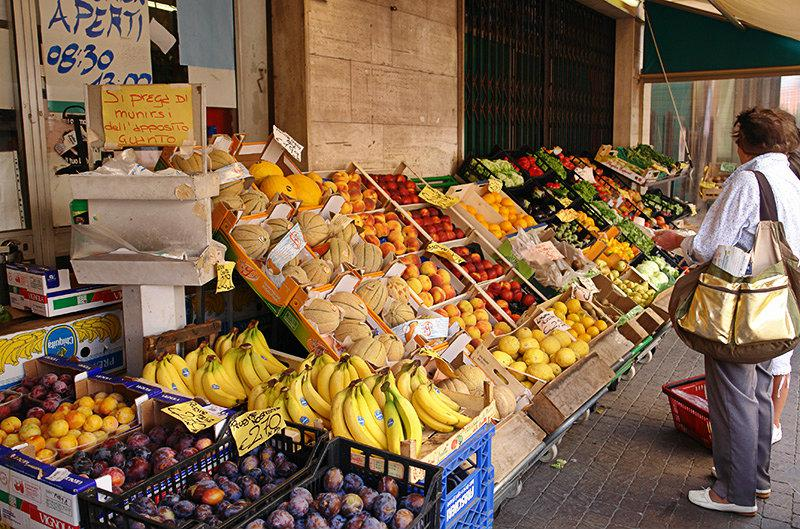 A market with fresh fruits and vegetables in Pietra Ligure