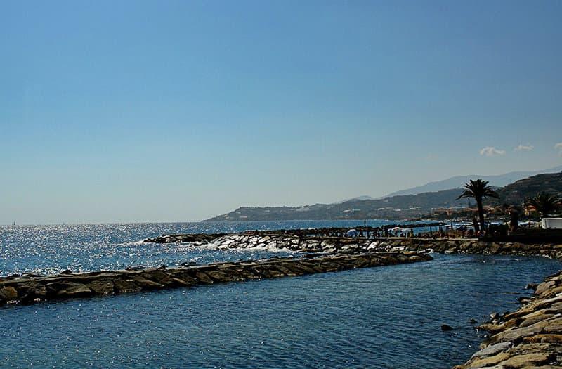 View of a glittery sea in Santo Stefano al Mare