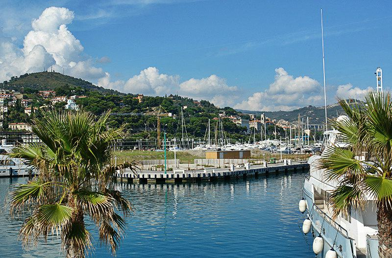 A beautiful port of Imperia, Porto Maurizio with palm trees