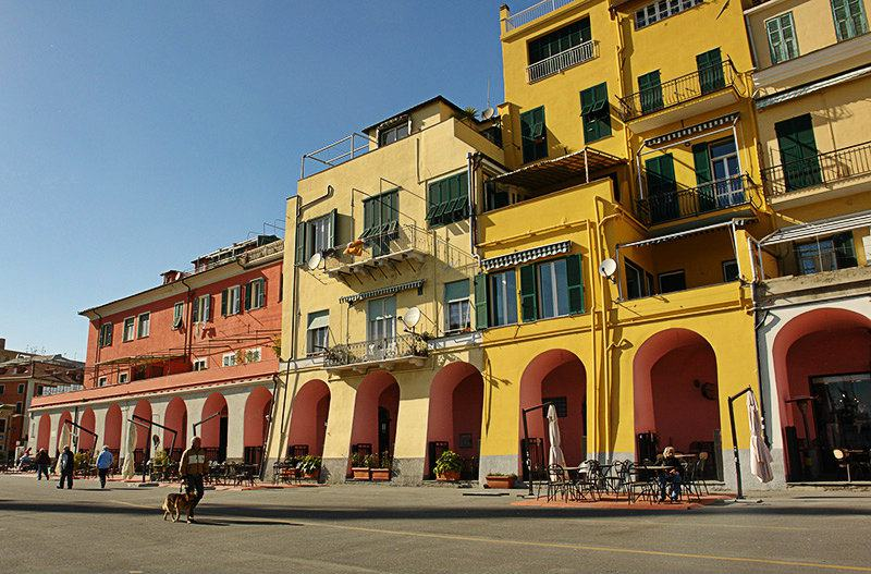 Colorful houses during a sunset in Imperia Oneglia