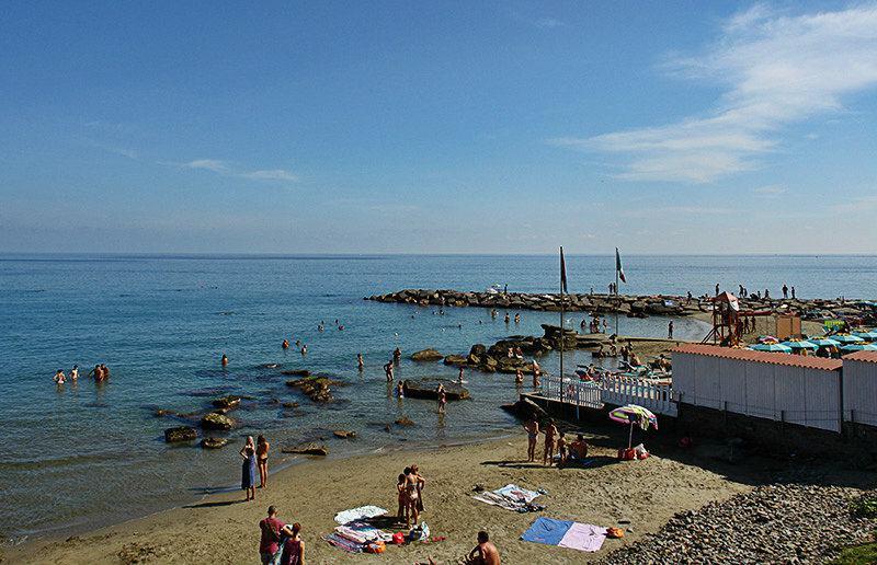 View of a beach in Imperia, Porto Maurizio