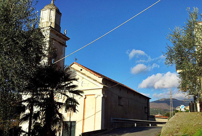 View of a church in Moltedo, Liguria