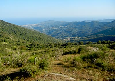 View from a mountain to the sea in Liguria