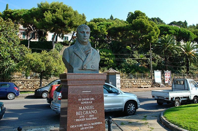 A statue of Manuel Belgrano in Imperia, Oneglia