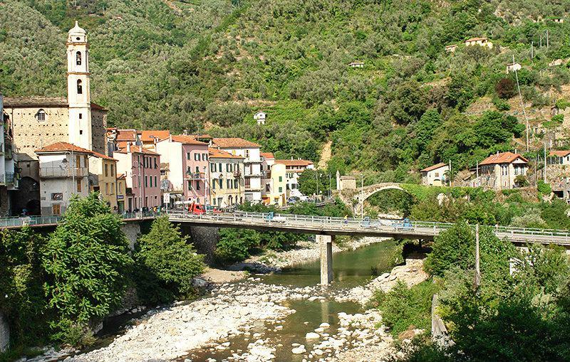 A romantic bridge of Molini di Triora in Argentina Valley