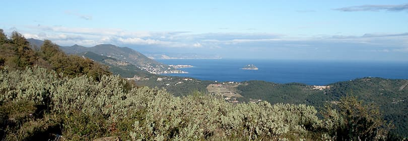 View of Finale Ligure from mountain biking tour