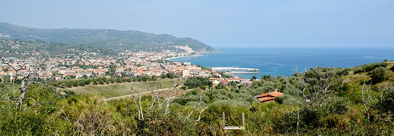 View to Diano Marina from mountainbiking tour