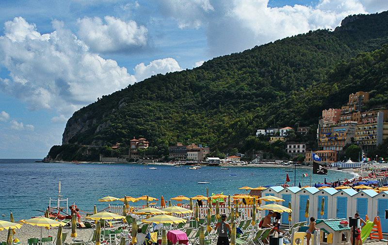 A great beach of Noli in Liguria