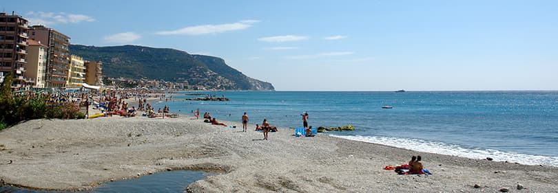 Beach in Pietra Ligure, Liguria, Italy