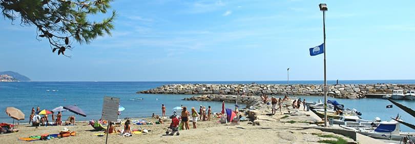 Beach in San Lorenzo al Mare, Liguria