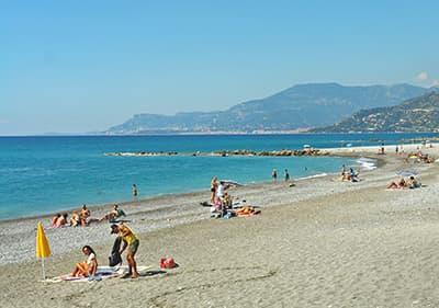 Beach in ventimiglia, Liguria