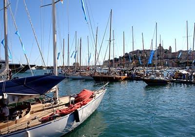 Sailing boats in Porto Maurizio port during Vele d'Epoca