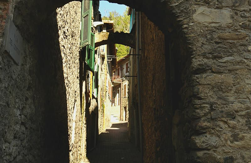 A medieval street of Vessalico in Liguria