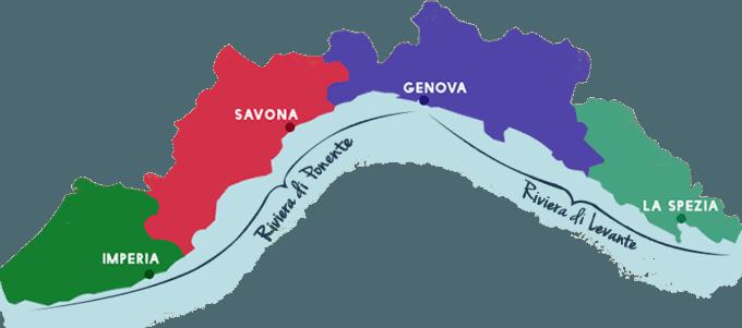 Liguria consists of 4 provinces of Imperia, Savona, Genoa and La Spezia and is divided into Riviera di Ponente and Riviera di Levante